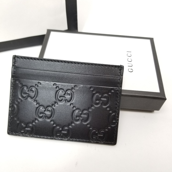 6dd8fd9934ff6a Gucci Accessories | Gg Embossed Leather Card Case Holder Black ...